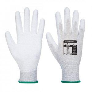 Антистатические перчатки трикотажные, нейлоновые, с покрытием ладони